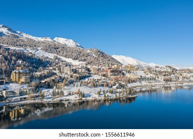 Sankt Moritz, famous place in the Swiss Alps - Alpine lake and beautiful village in winter season