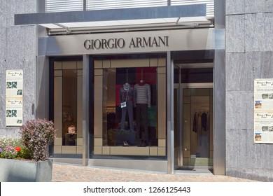 SANKT MORITZ, SWITZERLAND - AUGUST 16, 2018: Giorgio Armani luxury store in a sunny summer day in Sankt Moritz, Switzerland