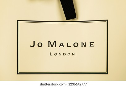 Sankt Petersburg, Russia - November 17, 2018: Jo Malone London branded gift box logo. Jo Malone London is a British perfume and scented candle brand, owned since 1999 by Estée Lauder