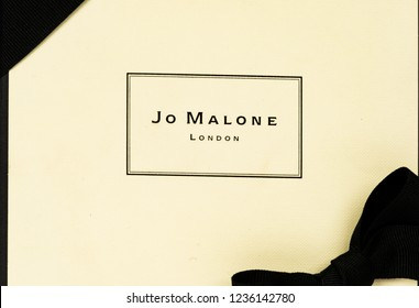 Sankt Petersburg, Russia - November 17, 2018: Jo Malone London branded gift box. Jo Malone London is a British perfume and scented candle brand, owned since 1999 by Estée Lauder