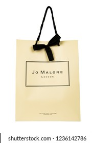 Sankt Petersburg, Russia - November 17, 2018: Jo Malone London branded gift paper bag. Jo Malone London is a British perfume and scented candle brand, owned since 1999 by Estée Lauder