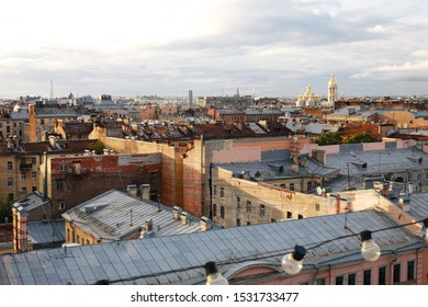 Sankt Petersburg,Russia,18 September 2019: View of centre street Ligovsky prospect in Sankt Petersburg in evening time with long exposure