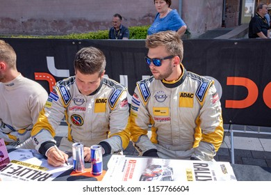 SANKT WENDEL, GERMANY - AUG 16, 2018: Rally WM in Sankt Wendel in the Saarland, Germany. At the first day the drivers present themselves to audience  with autographs and interview .