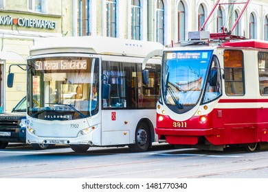 Sankt-peterburg, Russia - August, 13, 2019: bus and tram on a street in a center of Sankt-peterburg, Russia
