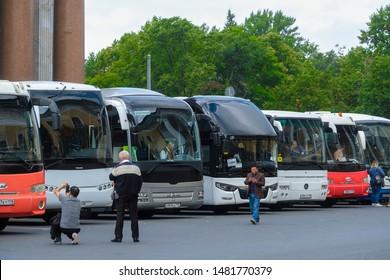 Sankt-peterburg, Russia - August, 13, 2019: bus on a street in a center of Sankt-peterburg, Russia