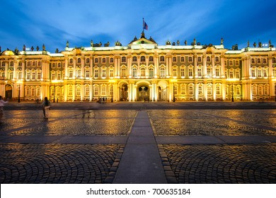 Sankt-Peterburg, Russia - August, 19, 2017: The building of Hermitage and Winter palace in Sankt-peterburg