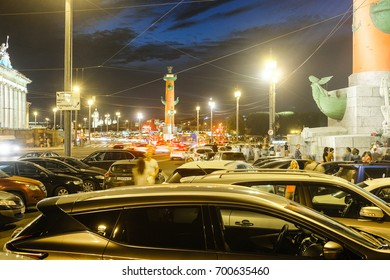 Sankt-Peterburg, Russia - August, 19, 2017: Neva embankment with Rostral Columns in Sankt-peterburg
