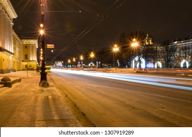 Sankt-Peterburg, Russia, January 6, 2019: Movement at the night in Sankt-Peterburg timelapse. Traffic on the road
