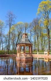 Sankt-Peterburg, Russia - May, 09, 2019: Letniy sad Menagerie pond in Summer Garden
