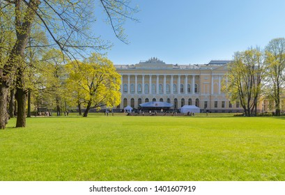 Sankt-Peterburg, Russia - May, 09, 2019: Northern facade of Mikhailovsky palace, building of the State Russian museum. Architecture landscape of St Petersburg landmark