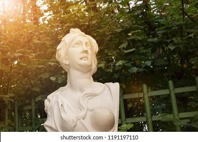 Sankt-Peterburg, Russia - September 15, 2017: monument in Letniy sad (Summer Garden) in Sankt-peterburg in sunlight
