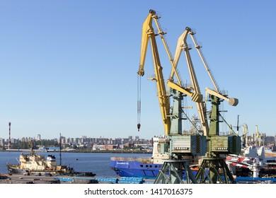 Sankt-Peterburg/Russia-Jun 01 2019: Panorama of the cargo port in Sankt- Petersburg, Russia
