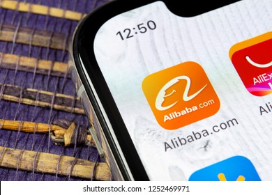 Sankt-Petersburg, December 5, 2018: Alibaba application icon on Apple iPhone X smartphone screen close-up. Alibaba app icon. Alibaba.com is popular e-commerce application. Social media icon