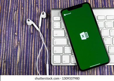 Sankt-Petersburg, February 10, 2019: Microsoft Excel application icon on Apple iPhone X screen close-up. Microsoft office Excel app icon. Microsoft office on mobile phone. Social media