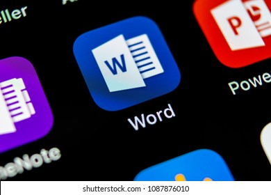 Sankt-Petersburg, May 10, 2018: Microsoft word application icon on Apple iPhone X screen close-up. Microsoft office word icon. Microsoft office on mobile phone. Social media