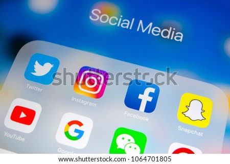 Sankt-Petersburg, Russia, April 1, 2018: Apple iPad with icons of social media facebook, instagram, twitter, snapchat application on screen. Social media icons. Social network