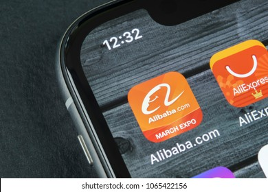 Sankt-Petersburg, Russia, April 10, 2018: Alibaba application icon on Apple iPhone X smartphone screen close-up. Alibaba app icon. Alibaba.com is popular e-commerce application. Social media icon