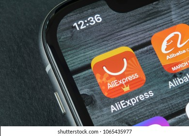 Sankt-Petersburg, Russia, April 10, 2018: Aliexpress application icon on Apple iPhone X smartphone screen close-up. AliExpress app icon. Aliexpress.com is e-commerce application. Social media icon