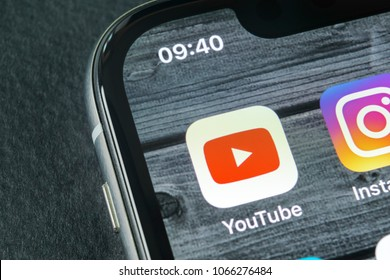 Sankt-Petersburg, Russia, April 11, 2018: YouTube application icon on Apple iPhone X smartphone screen close-up. Youtube app icon. Social media icon. Social network