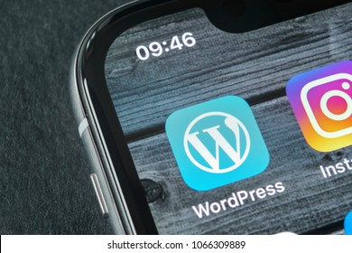 Sankt-Petersburg, Russia, April 11, 2018: Wordpress application icon on Apple iPhone X screen close-up. Wordpress app icon. Wordpress.com application. Social network