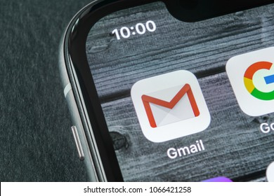 Sankt-Petersburg, Russia, April 11, 2018: Google Gmail application icon on Apple iPhone X smartphone screen close-up. Gmail app icon. Gmail is  popular Internet online e-mail. Social media icon