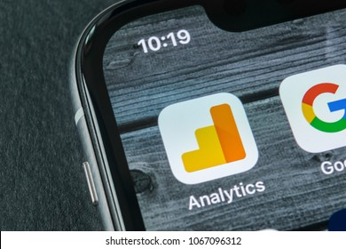 Sankt-Petersburg, Russia, April 11, 2018: Google Analytics application icon on Apple iPhone X screen close-up. Google Analytics icon. Google Analytics application. Social media network