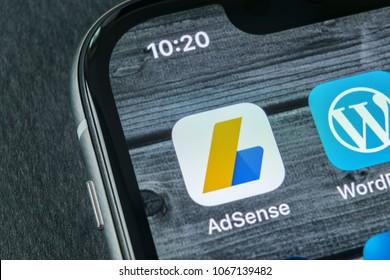Sankt-Petersburg, Russia, April 11, 2018: Google AdSense application icon on Apple iPhone X screen close-up. Google AdSense app icon. Google AdSense application. Social media network