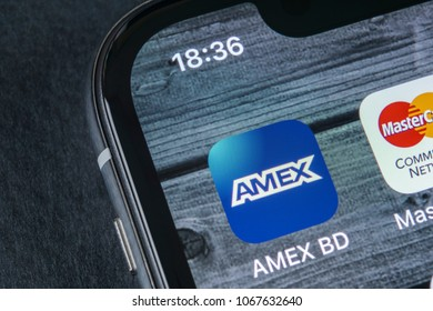Sankt-Petersburg, Russia, April 12, 2018: American Express application icon on Apple iPhone X smartphone screen close-up. Amex app icon. Amex is an online electronic finance payment system.