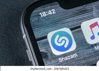 Sankt-Petersburg, Russia, April 12, 2018: Shazam application icon on Apple iPhone X screen close-up. Shazam app icon. Shazam is popular online music application. Social media app