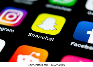 Sankt-Petersburg, Russia, April 12, 2018: Snapchat application icon on Apple iPhone X smartphone screen close-up. Snapchat app icon. Social media icon. Social network