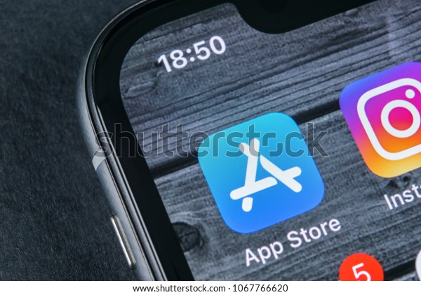 Sankt-Petersburg, Russia, April 12, 2018: Apple store application icon on Apple iPhone X smartphone screen close-up. Mobile application icon of app store. Social network. AppStore