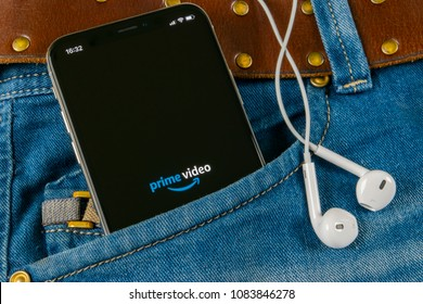 Sankt-Petersburg, Russia, April 14, 2018: Amazon prime video application icon on Apple iPhone X screen in jeans pocket. Amazon prime video app icon. Prime video application. Social network