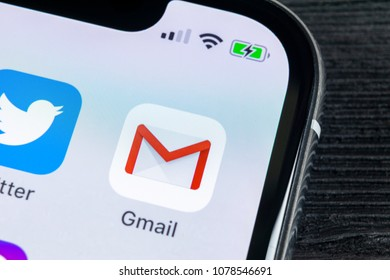 Sankt-Petersburg, Russia, April 27, 2018: Google Gmail application icon on Apple iPhone X smartphone screen close-up. Gmail app icon. Gmail is  popular Internet online e-mail. Social media icon