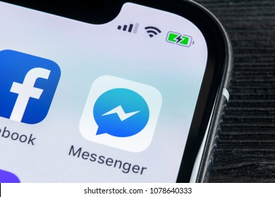 Sankt-Petersburg, Russia, April 27, 2018: Facebook messenger application icon on Apple iPhone X screen close-up. Facebook messenger app icon. Online internet social media network. Social media app
