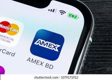 Sankt-Petersburg, Russia, April 27, 2018: Amex application icon on Apple iPhone X smartphone screen close-up. Amex app icon. American express is an online electronic finance payment system.