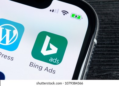 Sankt-Petersburg, Russia, April 27, 2018: Bing application icon on Apple iPhone X screen close-up. Bing ads app icon. Bing ads is online advertising application. Social media network.