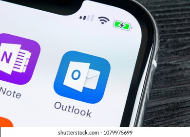 Sankt-Petersburg, Russia, April 27 2018: Microsoft Outlook office application icon on Apple iPhone X screen close-up. Microsoft outlook app icon. Microsoft OutLook application. Social media network