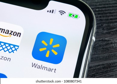 Sankt-Petersburg, Russia, April 27, 2018: Walmart application icon on Apple iPhone X screen close-up. Walmart app icon. Walmart.com is multinational retailing corporation