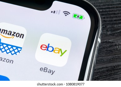 Sankt-Petersburg, Russia, April 27, 2018: eBay application icon on Apple iPhone X screen close-up. eBay app icon. eBay.com is largest online auction and shopping websites.