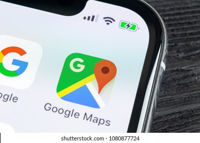 Sankt-Petersburg, Russia, April 27, 2018: Google Maps application icon on Apple iPhone X screen close-up. Google Maps icon. Google maps application. Social media network