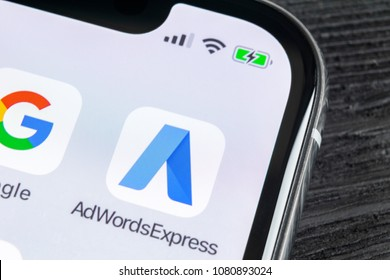 Sankt-Petersburg, Russia, April 27, 2018: Google AdWords express application icon on Apple iPhone X screen close-up. Google Ad Words Express icon. Google Adwords application. Social media network
