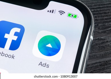 Sankt-Petersburg, Russia, April 27, 2018: Facebook Ads application icon on Apple iPhone X screen close-up. Facebook Business app icon. Facebook Ads mobile application. Social media network