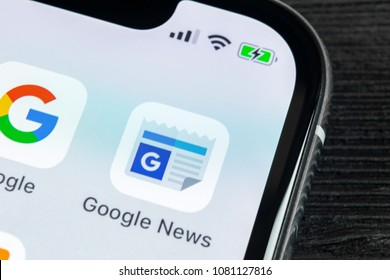 Sankt-Petersburg, Russia, April 27 2018: Google News application icon on Apple iPhone X smartphone screen close-up. Google news app icon. Social network. Social media icon