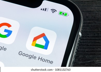 Sankt-Petersburg, Russia, April 27 2018: Google Home application icon on Apple iPhone X smartphone screen close-up. Google home app icon. Social network. Social media icon