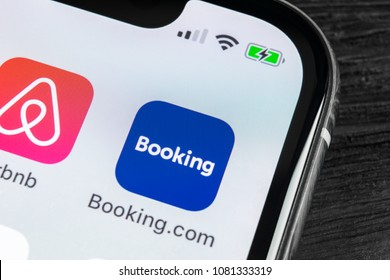 Sankt-Petersburg, Russia, April 27, 2018: Booking.com application icon on Apple iPhone X screen close-up. Booking app icon. Booking.com.  Social media app. Social network