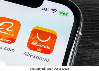 Sankt-Petersburg, Russia, April 27 2018: Aliexpress application icon on Apple iPhone X smartphone screen close-up. AliExpress app icon. Aliexpress.com is popular e-commerce application. Social media
