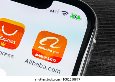 Sankt-Petersburg, Russia, April 27, 2018: Alibaba application icon on Apple iPhone X smartphone screen close-up. Alibaba app icon. Alibaba.com is popular e-commerce application. Social media icon