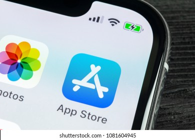 Sankt-Petersburg, Russia, April 27, 2018: Apple store application icon on Apple iPhone X smartphone screen close-up. Mobile application icon of app store. Social network. AppStore