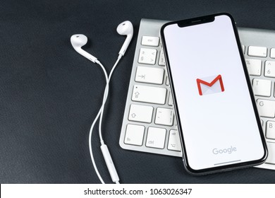 Sankt-Petersburg, Russia, April 6, 2018: Google Gmail application icon on Apple iPhone X smartphone screen close-up. Gmail app icon. Gmail is  popular Internet online e-mail. Social media icon