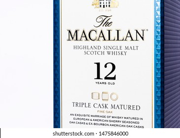 Sankt-Petersburg, Russia - August 08, 2019:  Macallan Highland Single Malt Scotch Whiskey Box close up studio  shot. The Macallan Distillers is a wholly owned subsidiary of the Edrington Group.